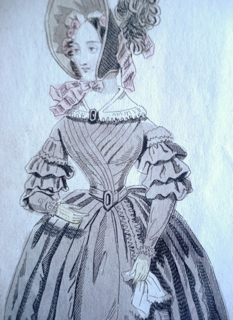 VICTORIAN FASHION PRINT ORIGINAL 1830s LONDON PROMENADE DRESS