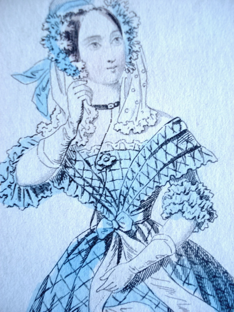 VICTORIAN FASHION PRINT ORIGINAL 1837 EVENING DRESS