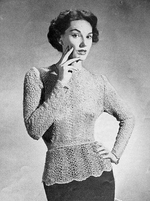 1950s Vintage Knitting Crochet Pattern  Stunning Lacey Over Blouse Peplum Style Pattern Day or Evening Glam