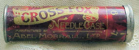 ANTIQUE Cross Fox Needle Case Abel Morrall Needles Needlework Tools Sewing Collectible