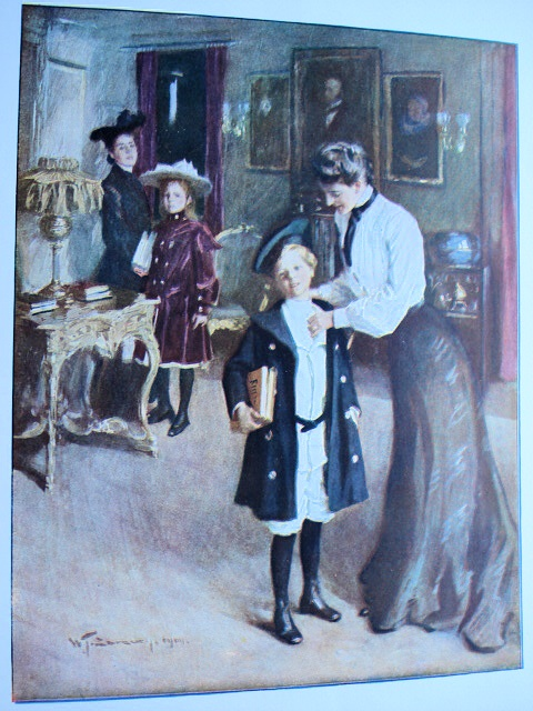 ANTIQUE PRINT OFF TO SCHOOL   W.T.SMEDLEY LOVELY COLORS CHARMING