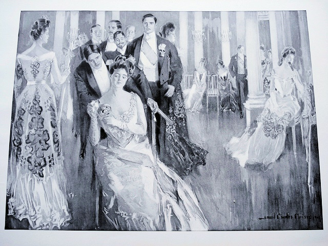ANTIQUE PRINT HOWARD CHANDLER CHRISTY  VICTORIAN COTILLION LOVELY TO FRAME