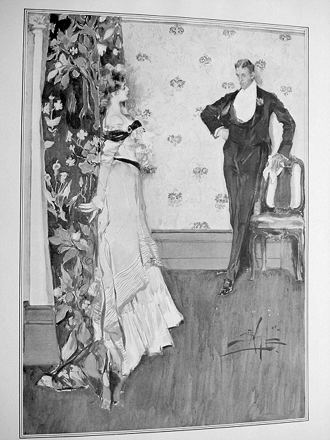 ANTIQUE A.B.WENZELL PRINT  LOVER'S QUARREL LOVELY ROMANTIC