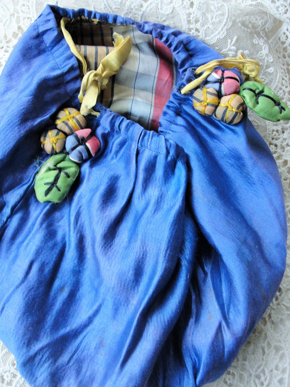1920s UNIQUE Purse Bag Figural Silk Padded Ribbon Flowers Beautiful Silk Blue and Plaid Perfect Boudoir Display Downton Abbey Era