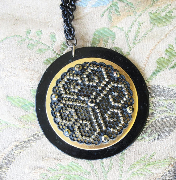 Large ART DECO FLAPPER 1920s Bakelite Pendant Original Celluloid Chain Early Plastic Jewelry To Wear or Collect Downton Abbey Great Gatsby