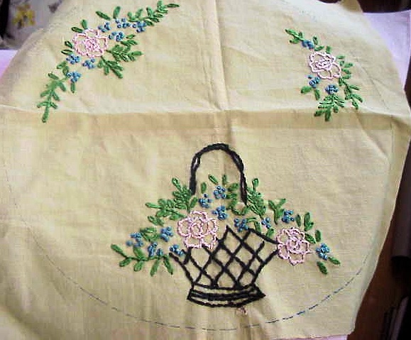 SWEET CUSHION COVER BASKET OF FLOWERS SHABBY ROMANTIC