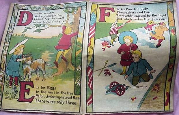 SAALFIELDS MUSLIN BOOKS 1904 BABYS ABC BOOK  COLORFUL!