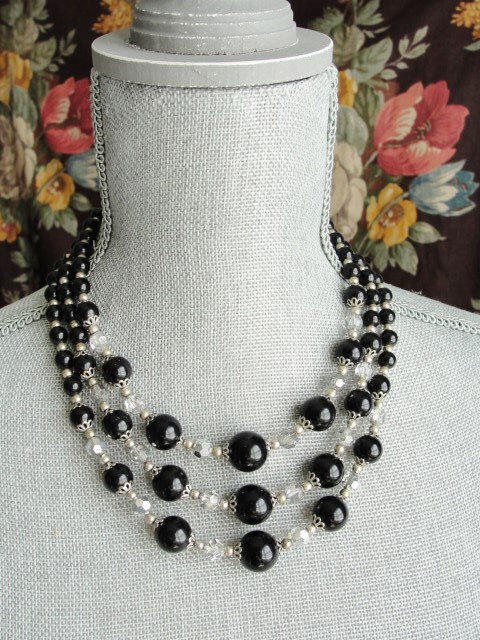 Vintage 50s AMAZING Multi Strand Bead and Cut Crystal Necklace Day or Evening Quality Costume Jewelry