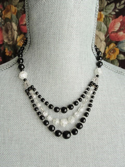 STUNNING Vintage 30s ART DECO Crackle Glass Bead Necklace Flapper Evening Wear High Quality Costume Jewelry