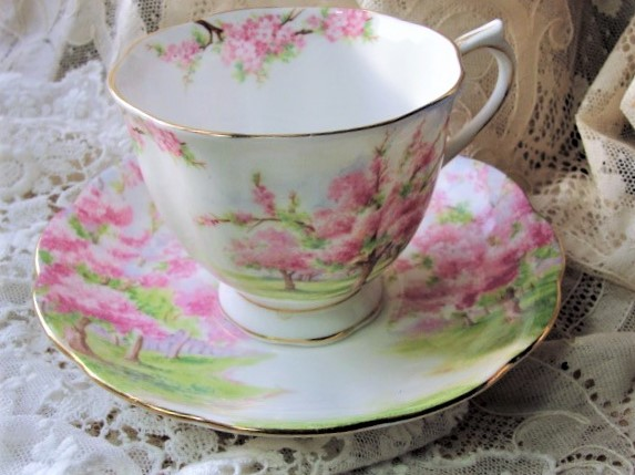 BEAUTIFUL Vintage Tea Cup and Saucer BLOSSOM TIME Royal Albert English Bone China for Bridal Luncheons,Showers, Hostess Gift, Bridesmaid Gift, Weddings,Tea Parties, Brocante