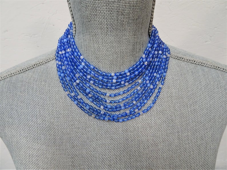 Vintage LUXURIOUS Art Glass Necklace,Miriam Haskell Style Multi Strand Of Blue Beads Day/Evening,Stunning Colors,Collectible Vintage Jewelry