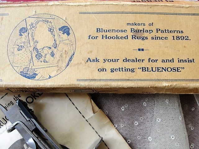 ANTIQUE BlueNose Rug Hook Tool Original Box and Instructions For Making Hooked Rugs Mats Collectible Craft Tool