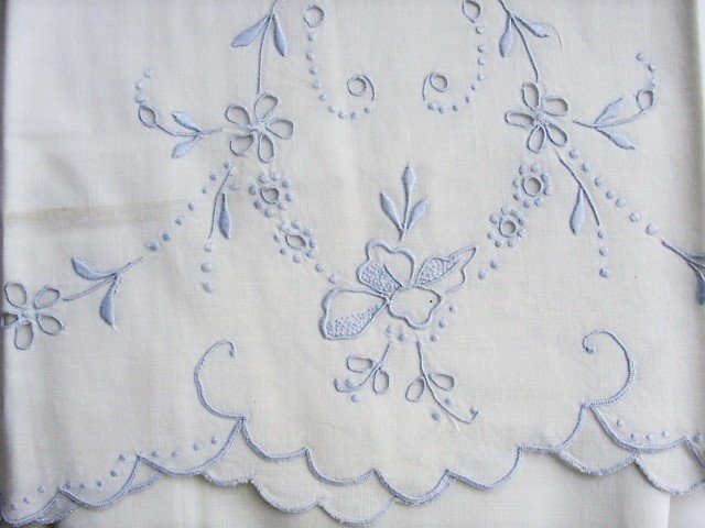 MADEIRA Vintage Pair of Cutwork Fancy Cotton PILLOWCASES Baby Blue Embroidery Scrolling Flowers Cottage Chic Farmhouse Decor Bridal Gift