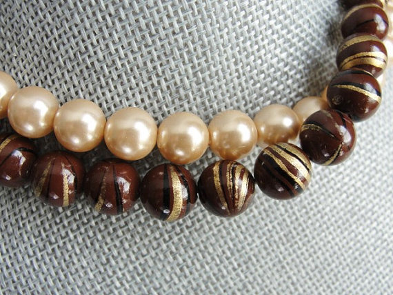 VINTAGE 50s Early 60s Lovely LUSTROUS Pearl and Bead Necklace Elegant 2 Strand Beads Day or Evening Costume Jewelry