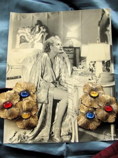 VINTAGE 1930s Fantastic Large Double Belt Buckle Stunning JEWELED Leaves Original Silk Velvet Belt Glam Vintage Clothing Hollywood Regency