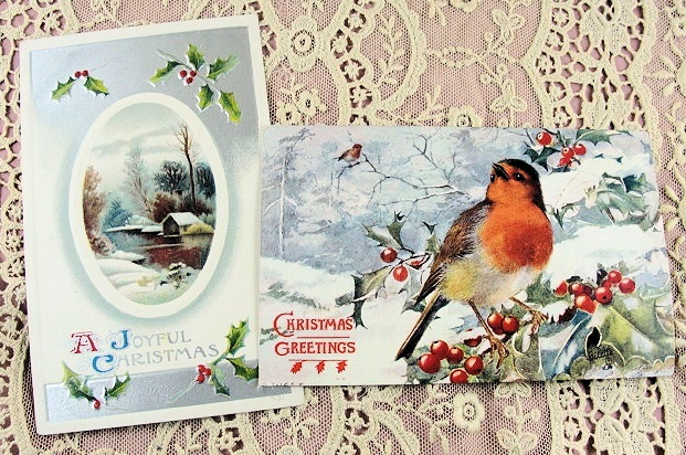 Charming Antique Christmas Postcards Perfect For Scrapbooking Decorating