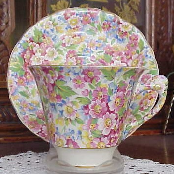 GORGEOUS FIGURAL HANDLE CHINTZ TEACUP and SAUCER JAMES KENT APPLE BLOSSOM