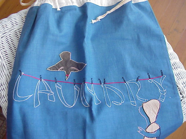 VINTAGE SHABBY CHIC LAUNDRY BAG CUTE APPLIQUE WORK
