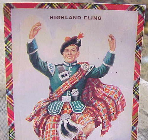 VINTAGE SCOTTISH  POSTCARD HIGHLAND DANCER TARTAN BORDER ROBERT BURNS DAY