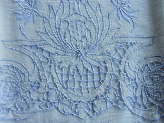 Lovely Vintage MADEIRA Fancy CUTWORK and Embroidery Pair of Pillowcases Crisp Cotton With Baby Blue Embroidery Work