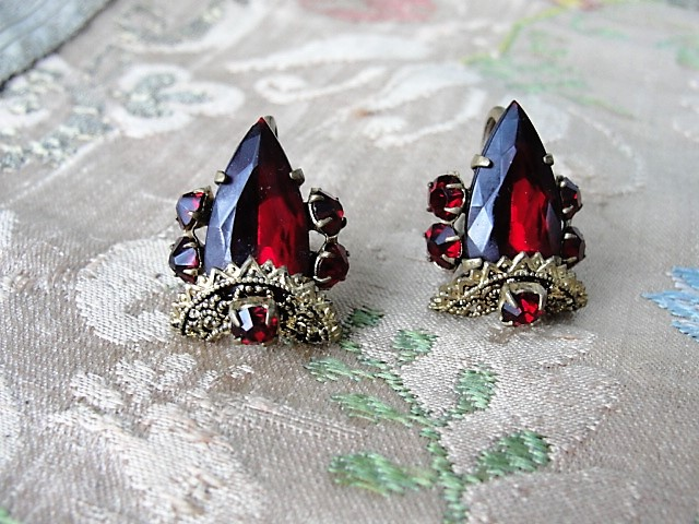 Antique Czech Glass and Filigree Earrings Ruby Red Stones Gilt Metal Screw Back Earrings Czechoslovakian Bohemian Vintage Jewelry