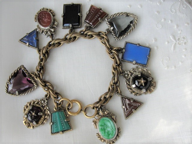 FABULOUS Art Deco Czech Glass FOB Charm Bracelet 12 Detailed Watch Fobs,Quality 1920s-30s Unique Bracelet,Collectible Czech Glass Jewelry