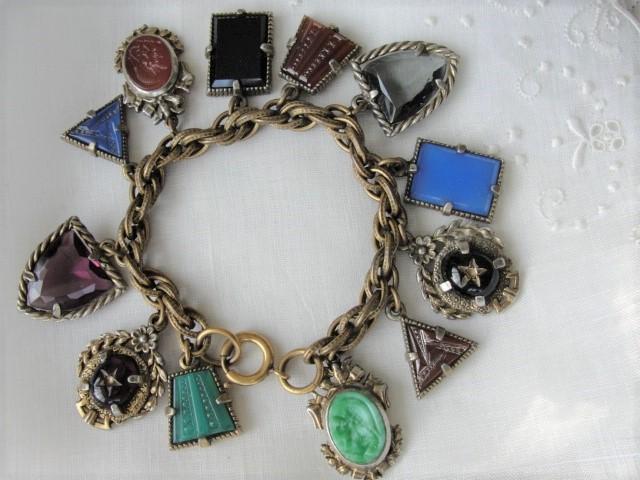FABULOUS Art Deco Czech Glass FOB Charm Bracelet 12 Detailed Watch Fobs,Quality 1920s-30s Unique Bracelet,Collectible Czech Glass Jewelry