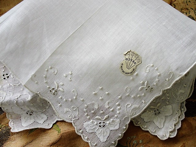 Vintage MADEIRA Embroidered Hankie Handkerchief WhiteWork Embroidery Openwork Wedding Bridal Bridesmaid Special Hanky Desco Label