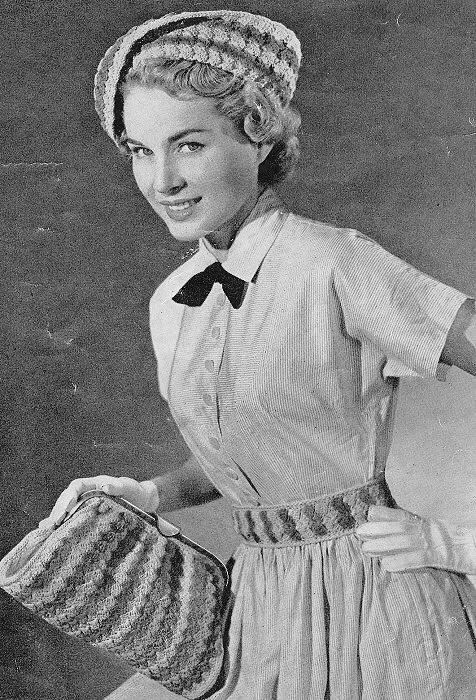 Vintage 40s Crochet Pattern Striking Chic Hat Purse Bag and Belt Vintage Mail Order Crochet Pattern
