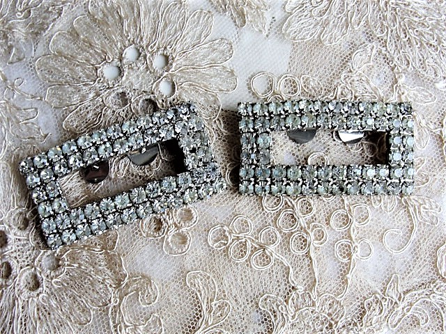 VINTAGE Sparkling Rhinestone Shoe Clips Art Deco Gatsby Style Diamante Shoe Decorations Shoe Buckles Dress Up Your Shoes