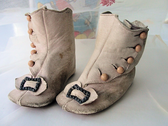 RARE BABY or LARGE FRENCH BEBE DOLL HIGH TOP BUTTON PINK LEATHER SHOES BOOTS, STEEL BUCKLES DELIGHTFUL!
