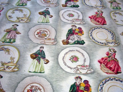 VINTAGE ROYAL DOULTON BARKCLOTH FABRIC PANEL FIGURINES TOP OF THE HILL, TEACUPS  GLAMIS THISTLE etc JUST BEAUTIFUL!