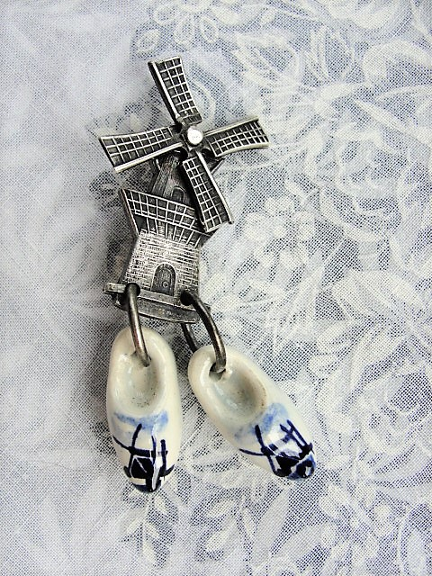 Vintage Figural Brooch Silver Detailed Windmill Dutch Delft Shoes Very Pretty AnTique Broach Pin Old Costume Jewelry