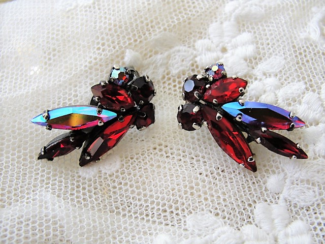 BEAUTIFUL Signed SHERMAN Clip On Earrings Brilliant RED and Blue Aurora Borealis Vintage 50s 60s Rhinestone Costume Jewelry