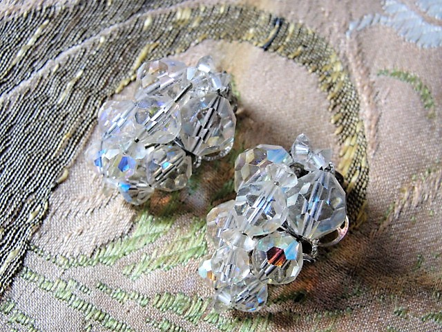 DAZZLING Vintage Austrian Swarovski Crystal Earrings Shimmering Aurora Borealis Cut Crystals Clip On Earrings Unique Design Vintage Jewelry