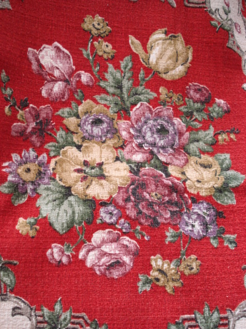 VINTAGE BARKCLOTH Curtain Panel Colorful Flowers Great For Sewing Projects Cushion Covers Etc