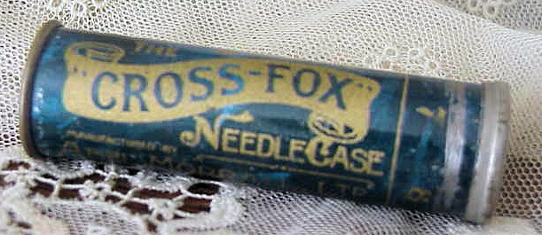 ANTIQUE ENGLISH NEEDLE CASE CROSS FOX TIN