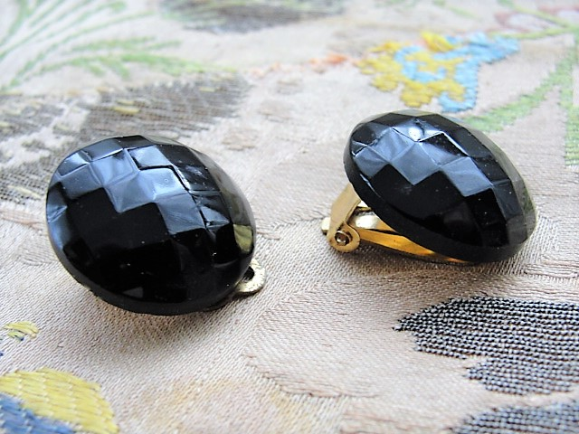 LOVELY Vintage 1950s French Jet Clip On Earrings Faceted Black Glass Clip Ons Costume Jewelry