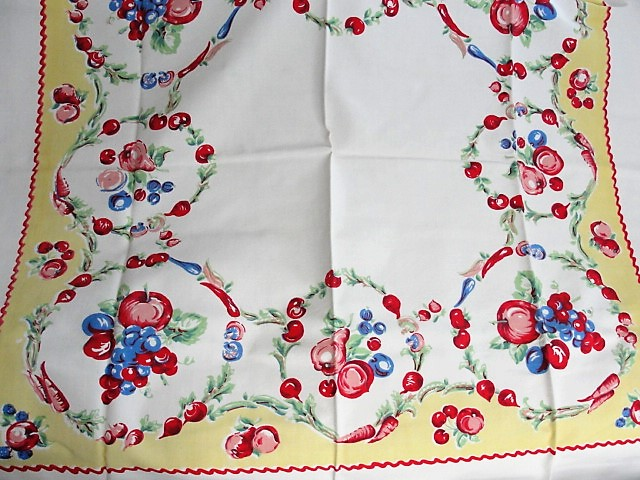 BEAUTIFUL Vintage Printed Tablecloth Colorful Fruits and Vegetables Cloth Never Used Collectible Printed Tablecloths
