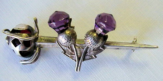ANTIQUE SCOTTISH THISTLES AMETHYST COLOR STONES BROOCH