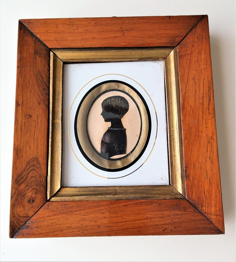 LOVELY Antique Framed Silhouette Shadow Portrait,Little Girl,Original Frame,Highly Decorative 18th Century,Farmhouse,French Country Decor