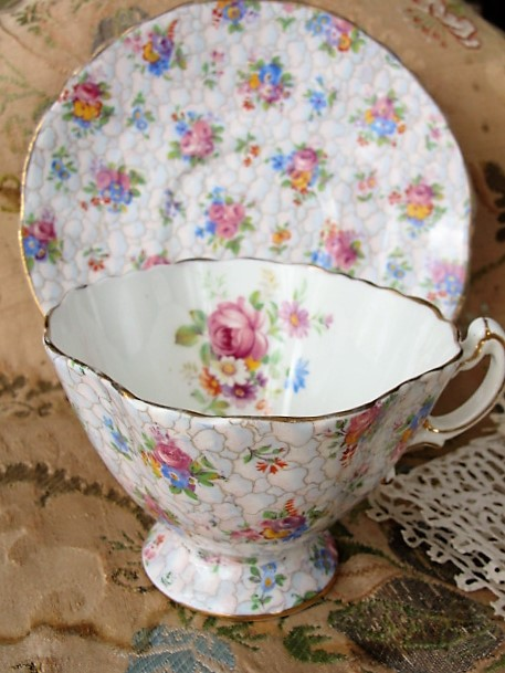 BEAUTIFUL Vintage Footed Teacup and Saucer HAMMERSLEY English Bone China Chintz Flowers Cup and Saucer Bridal Showers Tea Parties,Gifts