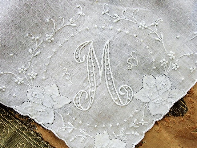 Breathtaking Vintage Madeira Monogram M BRIDAL WEDDING HANDKERCHIEF Heavily Encrusted Embroidery Work Hankie Bridal Hanky Vintage Hankies