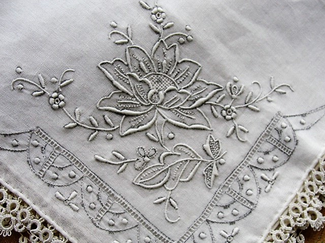 BEAUTIFUL Antique 1920s Tatted Tatting Lace Edge Handkerchief Hand Embroidered Hanky ,Perfect Hankie For Bride To Be, Special Wedding Lace Hanky