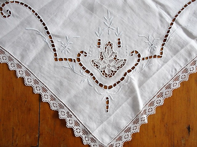 Antique Tablecloth Vintage White Linens Italian Needlelace Filet Lace Embroidery Embroidered Cutwork 1920s Tea Time Table Cloth Table Topper Cottage Decor