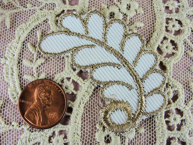 Lovely Vintage Small  French Applique Rich Gold Metallic Lame Embroidery Perfect For Hats Fine Sewing Projects