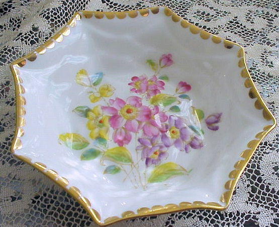 ROYAL STANDARD LORRAINE  CANDY MINT DISH HAND ENAMELED FLOWERS