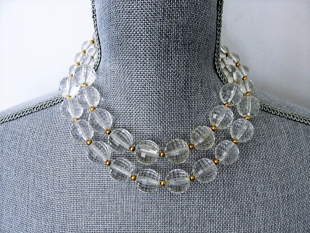 FABULOUS Vintage 50s Large Faceted LUCITE Bead Necklace Double Strand Fancy Clasp High Fashion Run Way Style Vintage Plastic Jewelry