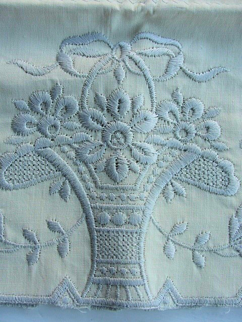 BEAUTIFUL VINTAGE PILLOW CASES MADEIRA EMBROIDERY STYLE NEVER USED!