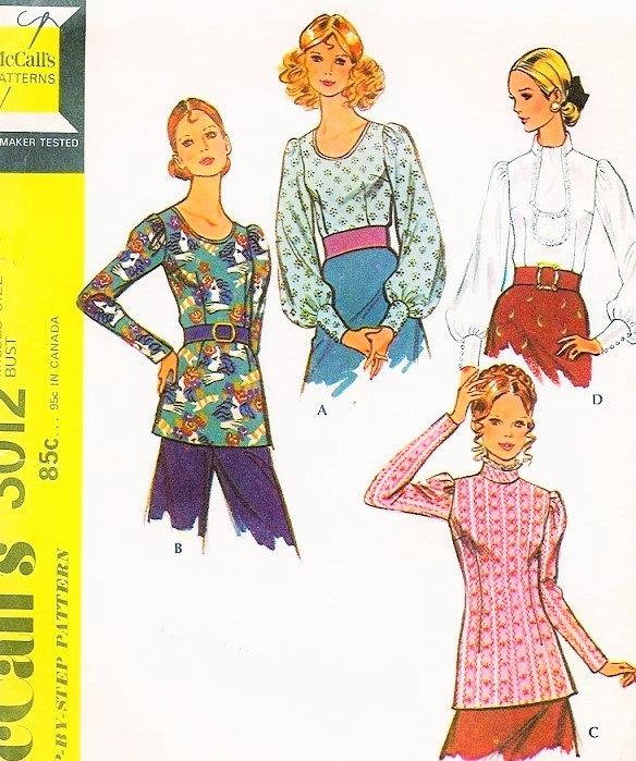 1970s Vintage Sewing Pattern McCalls 3012 Set Of Blouses Pattern Overblouses or Tuck In 4 Kawaii Cute Victorian Inspired Styles UNCUT Bust 34